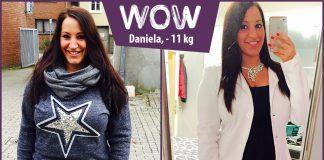 Daniela im buisness outfit vor dem Spiegel nachdem sie mit BodyChange abgenommen hat