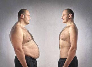 Mann mit dickem Bauch steht man mit dünnem Bauh gegenüber