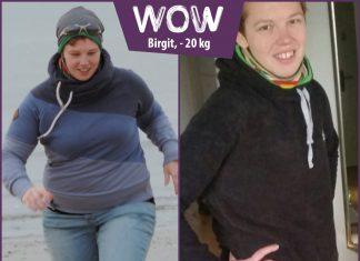 Birgit am Stand und im sportlichen Outfit