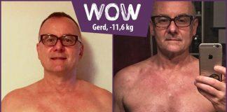 Gerd im Vorher-Nachher-Vergleich vor dem Spiegel
